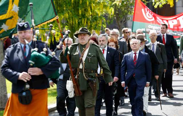 Labour annual James Connolly Commemoration at Arbour Hill. Labour Party leader, Brendan Howlin TD(right) joined by the Labour Party Chair, Jack O\'Connor, for the annual James Connolly Commemoration at Arbour Hill in Dublin.