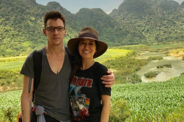Jonathan Rhys Meyers and his wife Mara Lane on vacation.