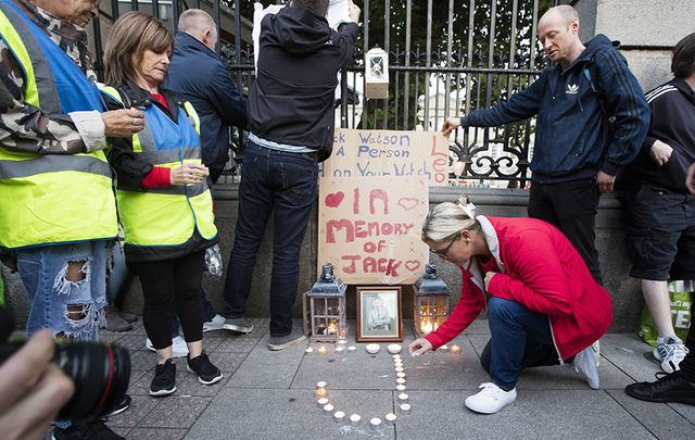People held a protest outside the Dail on September 1 in memory of two homeless people who died in Dublin.