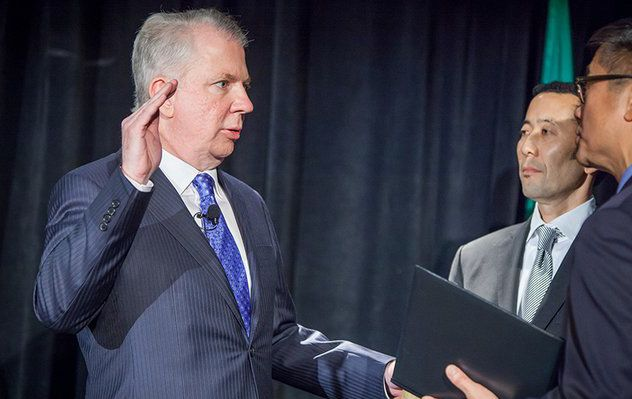 Ed Murray being sworn in as the Mayor of Seattle.