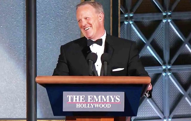 Irish American Sean Spicer, the Former White House Press Secretary, appearing at the 2017 Emmy's.
