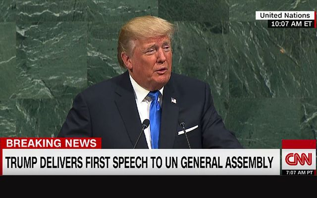 Trump speaking at the UN General Assembly