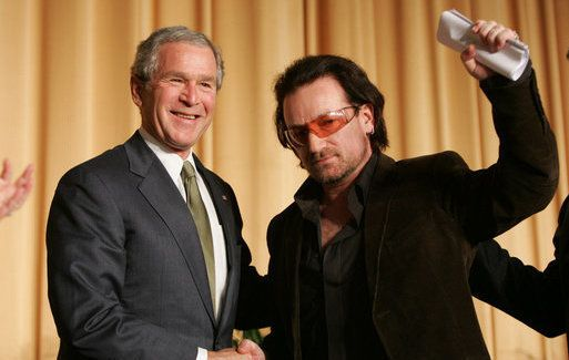 George W Bush and U2\'s front man Bono.