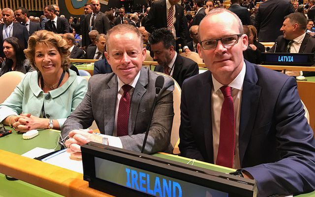 Ireland's Ambassador to the UN Geraldine Byrne Nason, Minister Cannon and Minister Coveney at the UN on Tuesday.