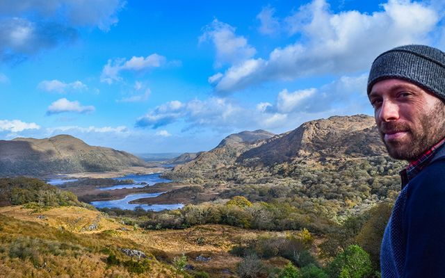 Taking in the Irish landscape.