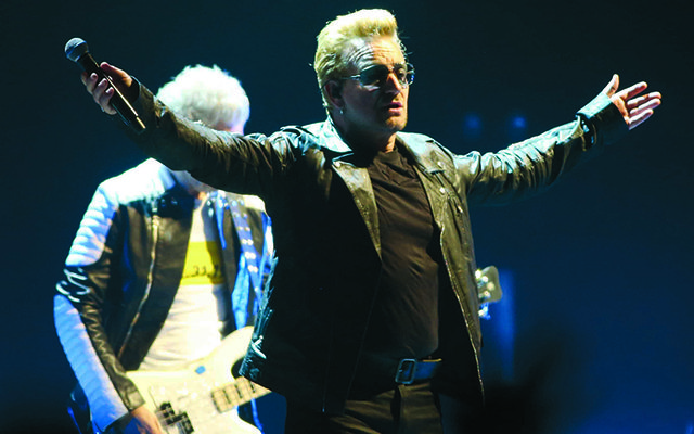 U2\'s front man Bono, performing in Croke Park, Dublin.