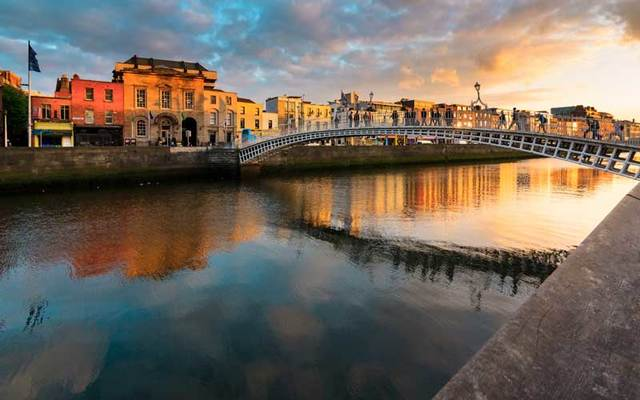 Sunset over Dublin, Ireland.