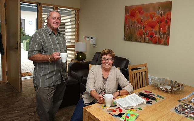 Frank Delaney and Lorraine Peters in the Croi apartments following Peter's heart surgery in 2012 while holidaying in Ireland.