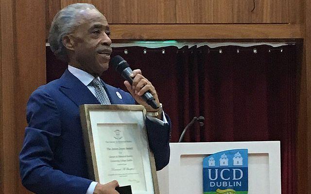 Al Sharpton accepting the James Joyce Award at UCD.