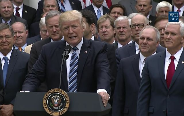 President Trump with Republicans following the House passage of the American Health Care Act.