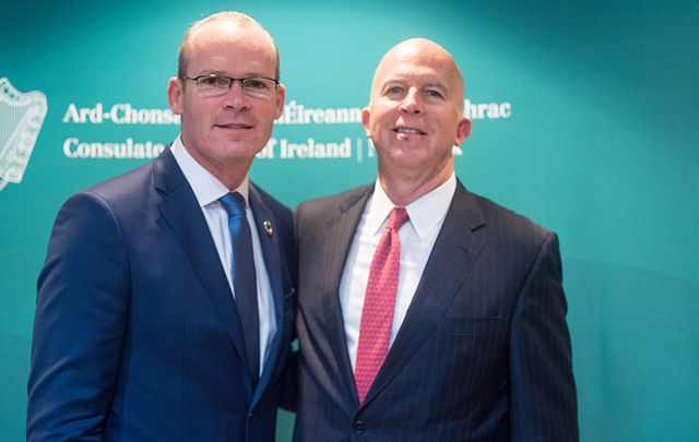 Irish Foreign Minister Simon Coveney meets NYPD Commissioner James O'Neill at the Irish Consulate.
