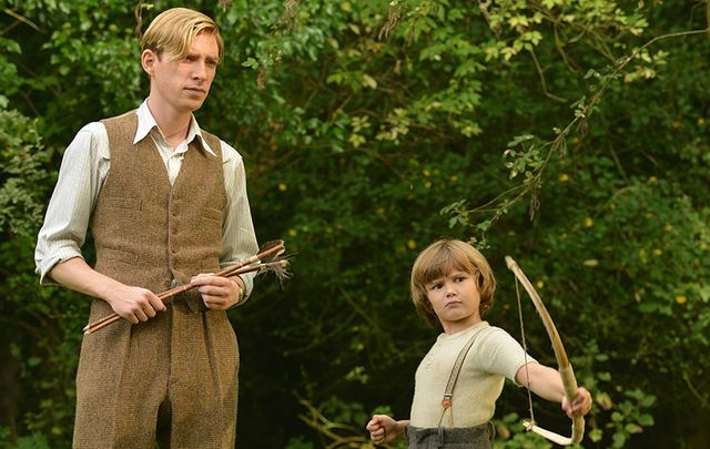Domhnall Gleeson as Alan Milne and Will Tilston as Christopher Robin, in Goodbye Christopher Robin.