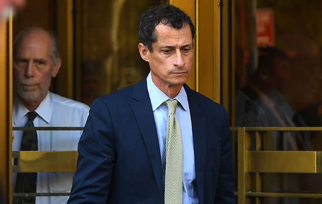 Anthony Weiner exiting court earlier this week.