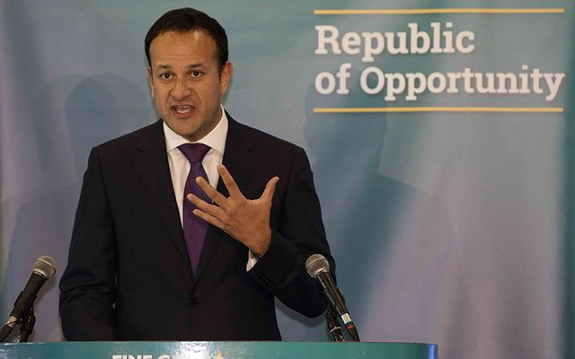 Leo Varadkar speaking under the Fine Gael sign, which reads the Republic of Opportunity.