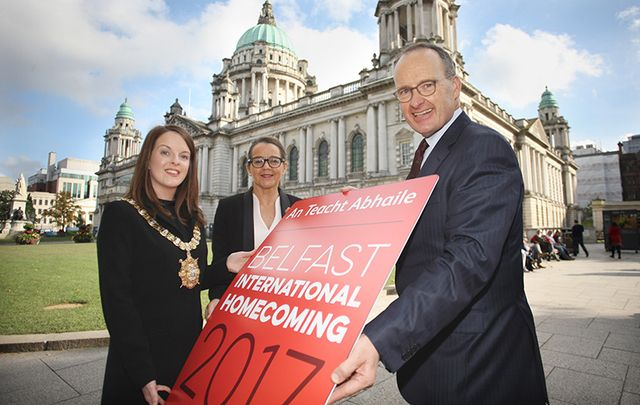 Councillor Nuala McAllister, Lord Mayor of Belfast, Jackie Henry, senior partner, Deloitte in Northern Ireland, and Dr. Howard Hastings OBE, chair of Visit Belfast and host of Belfast International Homecoming.