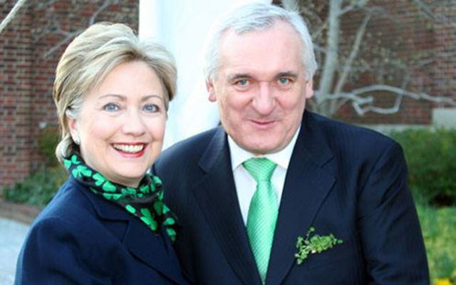 Hillary Clinton wearing a fetching shamrock scarf with former Irish leader Bertie Ahern