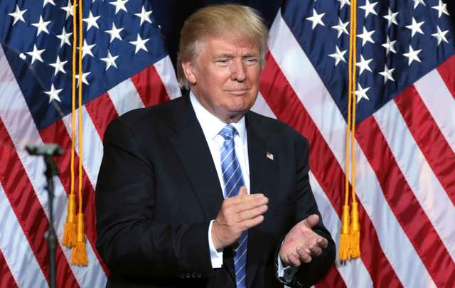 Is there a depiction of President Donald Trump in the Irish Senate?