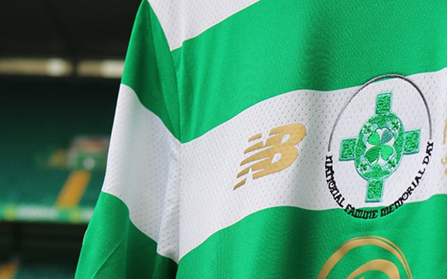 The Irish famine logo displayed on a Celtic FC jersey.
