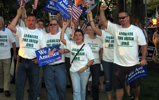 A group of Irish Lobby for Immigration Reform member campaigning in 2007 for a bilateral agreements between Ireland and US.