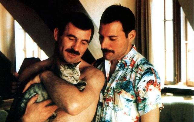 Jim Hutton with Freddie Mercury and their cat.