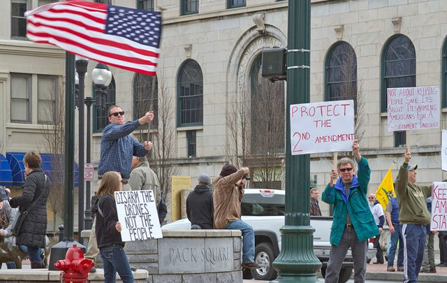 Anti gun control protesters in North Carolina.