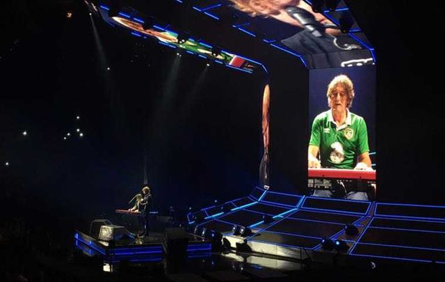 PJ Smith appearing in his Irish shirt with Ed Sheeran in Brooklyn.