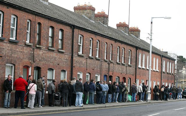 Dole lines such as these in Dublin in 2009 are becoming shorter.