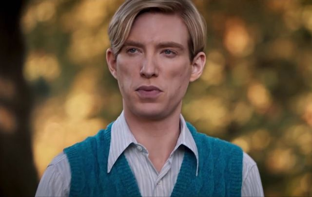 Still of Domhnall Gleeson as A.A. Milne in Goodbye Christopher Robin.