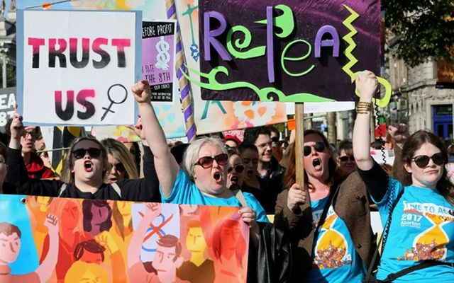 Marchers at the pro-choice rally in Dublin on Saturday.