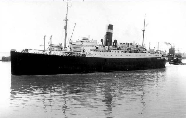 The SS Athenia in Montreal Harbour, 1933.