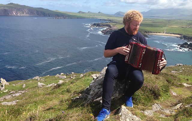 Vagabond Guide Conor entertains on Slea Head.