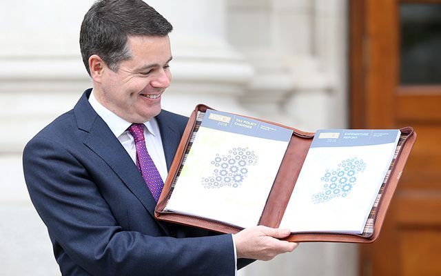 Finance Minister Pascal Donohoe with the 2018 budget on Tuesday.