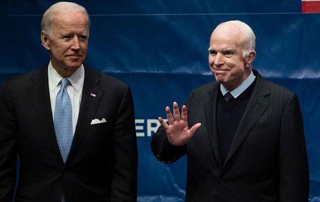 Joe Biden and John McCain at the Constitution Center, in Philadelphia.