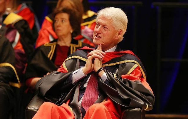 President Bill Clinton accepting an honorary degree at Dublin College University.