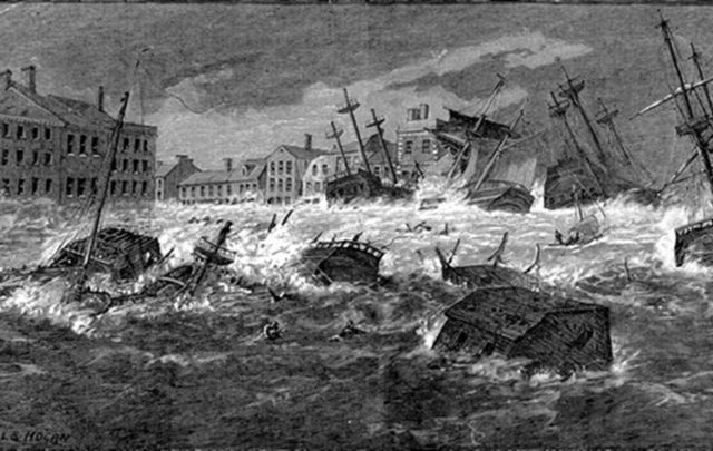 An illustration of houses and ships in Dublin being tossed around by the Big Wind of 1839.