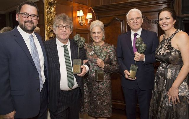 Irish Arts Center Executive Director Aidan Connolly, honorees Paul Muldoon, Sharon Patrick and Steven Martin, Irish Arts Center Vice Chair Pauline Turley.