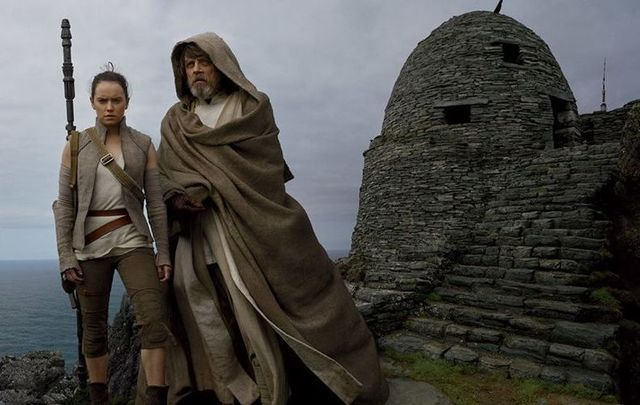 Mark Hamill and Daisy Ridley, in Star Wars: The Last Jedi, on Skellig Michael, in County Kerry.