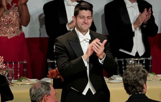Republican House Speaker Paul Ryan at the Al Smith dinner, in New York.