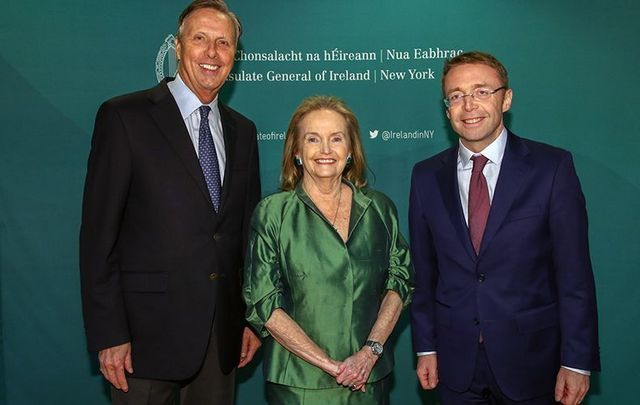 New York City St. Patrick's Day parade board chairman Dr. John Lahey, 2018 parade grand marshal Loretta Brennan Glucksman and Irish Consul General Ciaran Cannon at the Irish Consulate last week.
