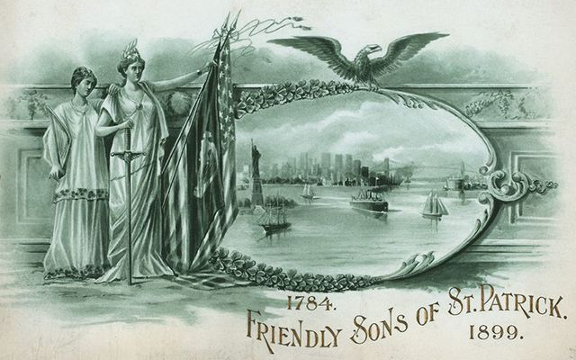 Illustration for a the 115th annual dinner of the Friend Sons of St. Patrick, where women are not welcome.