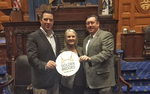 Rep Dan Ryan, Connla McCann, Director Golden Bridges and Sean Moynihan, Honorary Chair of Golden Bridges launch this year's program at the Massachusetts Statehouse