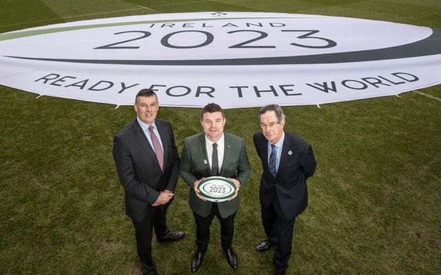Philip Browne, Brian O\'Driscoll and Dick Spring at the Rugby World Cup 2023 bid unveiling.