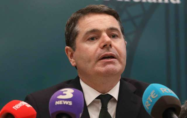 Minister for Finance and Public Expenditure & Reform Paschal Donohoe TD. Minister Donohoe spoke to media about the the Tracker Mortgage Examination being undertaken by the Central Bank.