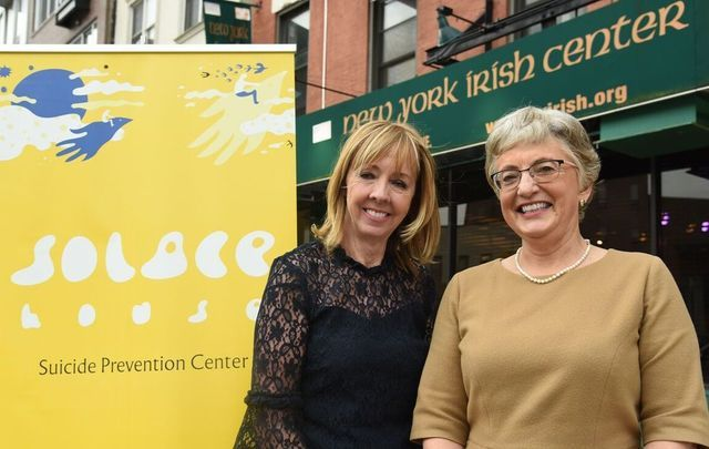 Founder and Irish Senator Joan Freeman standing outside the base of Solace House at the Irish Center in Queens alongside Katherine Zappone, the Irish Minister for  Children and Youth Affairs.