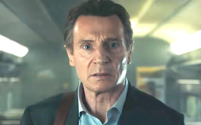 "Still of Liam Neeson from ""The Commuter\"" trailer."