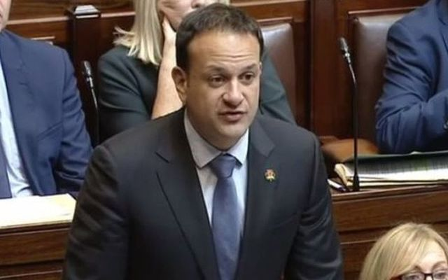 Ireland\'s Taoiseach Leo Varadkar wearing a shamrock poppy to honor those Irish who died during World War I.