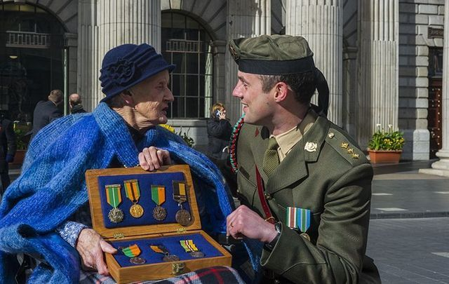 Sheila O'Leary and Captain John Forde outside the GPO on Easter Sunday celebrating the 1916 Easter Rising centenary.