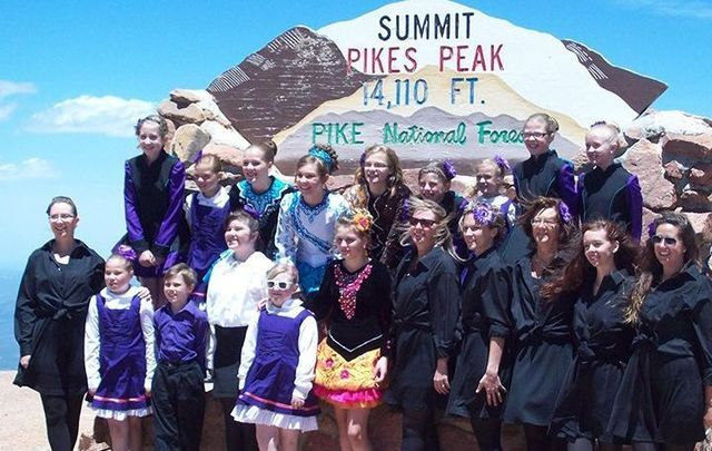 Mountain Eire Irish Dance School members on the summit of Pikes Peak, Colorado.