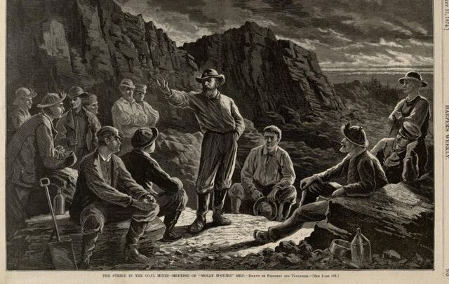 """Illustration entitled, \""""The Strike in the Coal Mines - Meeting of Molly Maguires\"""" From Harper\'s Weekly, January 31, 1874."""