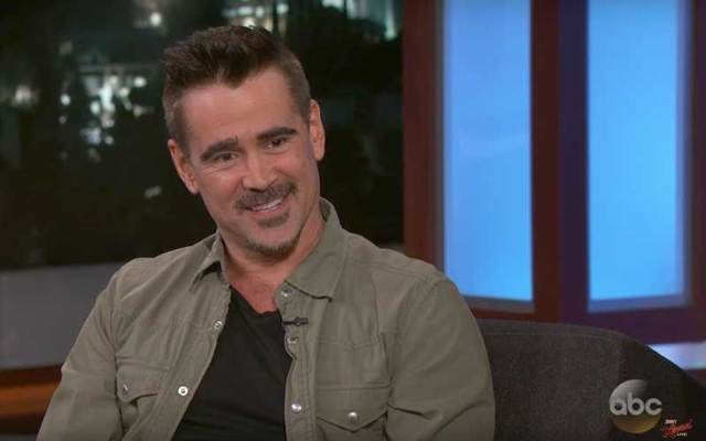 Screenshot of Colin Farrell on Jimmy Kimmel Live.